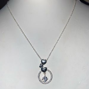 Sterling Silver Hearts and Floating CZ Necklace